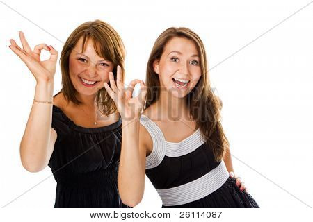beauty couple woman show sign ok over white
