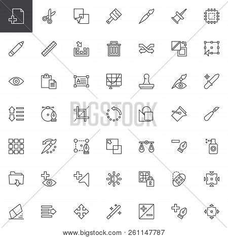 Utilities Outline Icons Set. Linear Style Symbols Collection, Line Signs Pack. Vector Graphics. Set