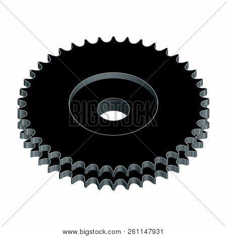 Sprocket Wheel For Duplex Roller Chain. Machine Parts. 3d Effect Vector