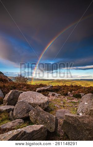 Rainbow At Harbottle Crags, Above The Village Of Harbottle Which Lies In Coquetdale Inside The North