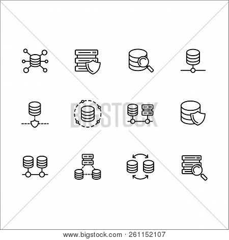 Simple Set Databases Vector Line Icon. Contains Such Icons Server Software, Web, Internet, Transfer,