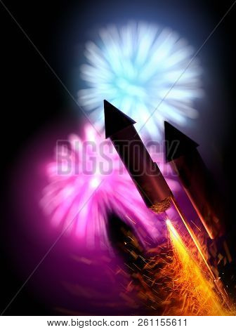 Close Up Image Of Firework Rockets With A Large Display In The Background. Bonfire Night Background