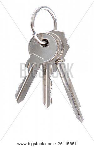 three keys on keyring isolated over white background
