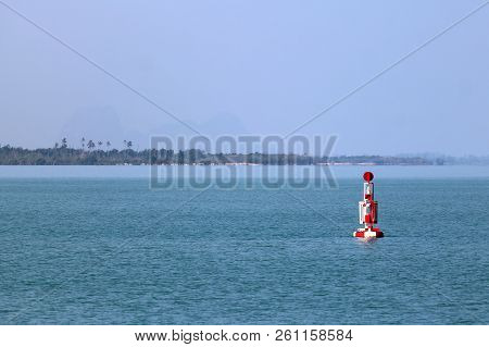 Red Buoy Navigation Or Lateral Marks Floating In The Sea,gulf Of Thailand.