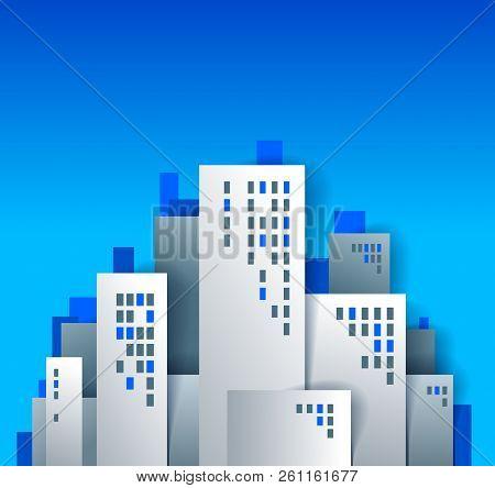 City Houses Buildings Paper Cut Cartoon Kids Game Style Vector Illustration, Modern Minimal Design O