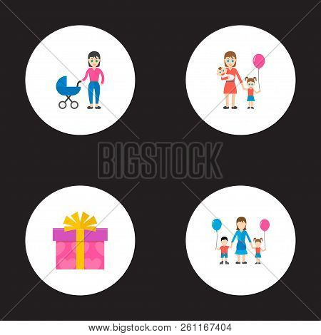 Happy Mother's Day Icon Flat Layout Design With Lady, Children And Perambulator Symbols. Lovely Mom