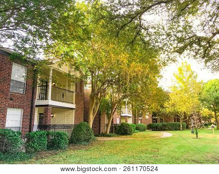 Typical Apartment Complex In Suburban Dallas Fort Worth, Texas In Fall Season Sunset