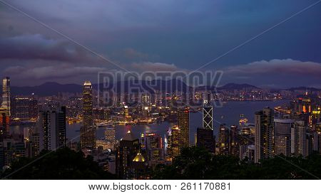 Hong Kong - April 2016: Skyline Of Hong Kong World Economic Coutry In Asia