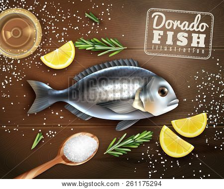 Cooking Of Dorado Fish With Spices, Lemon And Salt On Wooden Texture Background Vector Illustration