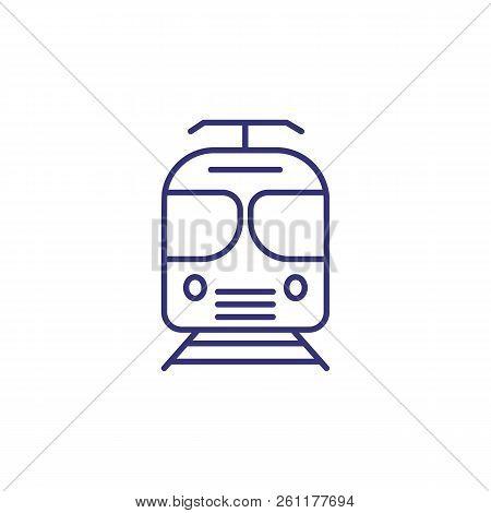 Train Line Icon. Suburban Train, Tram, Railway Station. Transport Concept. Vector Illustration Can B