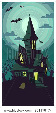 Dark Dilapidated Gothic Building On Full Moon Vector Illustration. Black Bats Flying Around Mystic H