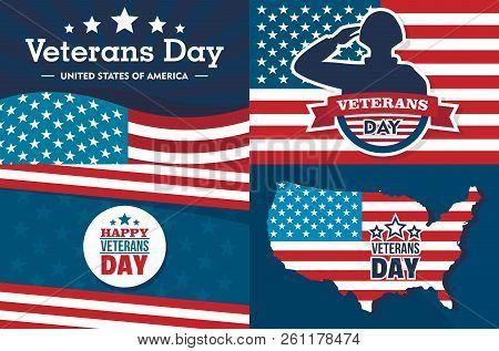 Veterans Day Banner Set. Flat Illustration Of Veterans Day Vector Banner Set For Web Design