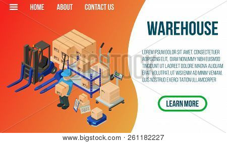 Warehouse Concept Banner. Isometric Banner Of Warehouse Vector Concept For Web, Giftcard And Postcar