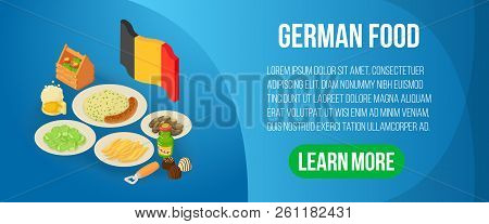 German Food Concept Banner. Isometric Banner Of German Food Vector Concept For Web, Giftcard And Pos
