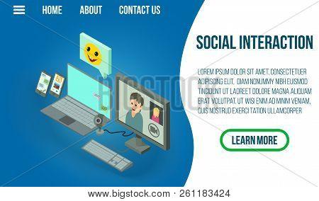 Social Interaction Concept Banner. Isometric Banner Of Social Interaction Vector Concept For Web, Gi
