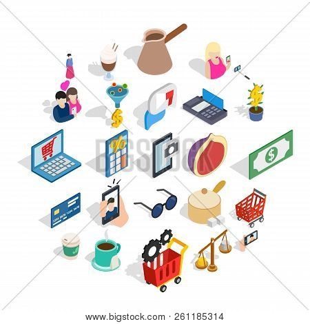 Commerce Icons Set. Isometric Set Of 25 Commerce Vector Icons For Web Isolated On White Background