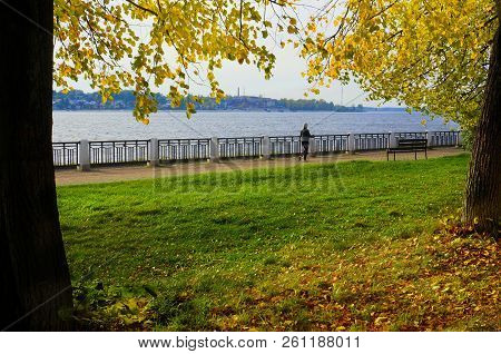 Autumnal Nature, Scenery In A Central Park, River