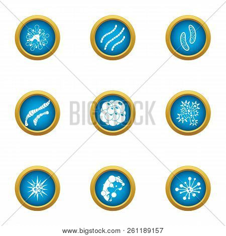 Biochemistry icons set. Flat set of 9 biochemistry vector icons for web isolated on white background poster