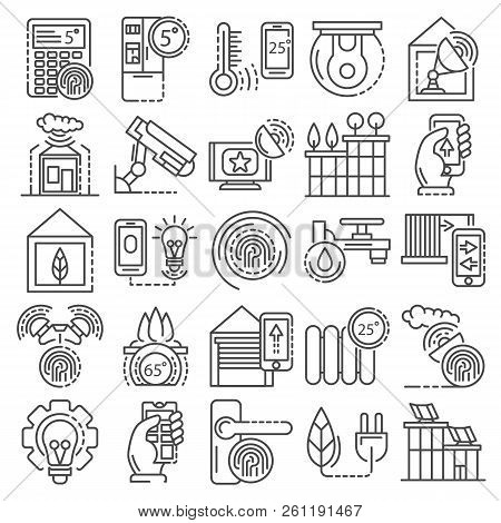 Intelligent Building System Icon Set. Outline Set Of Intelligent Building System Vector Icons For We