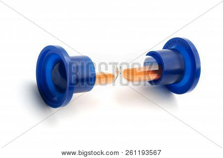 Laboratory Sandglass In Blue Plastic Holders Laying Down