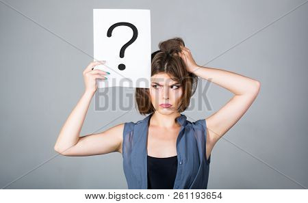 Thinking Woman. Concept - Challenging Issue, Looking For The Answer. Isolated Girl. Woman With Doubt