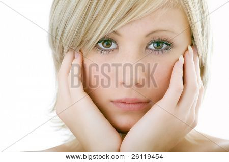 beauty woman face with palm on cheek on white background
