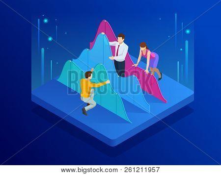 Isometric Business Team Doing Data Analysis And Statistics Concept. Data Visualisation. Vector Illus