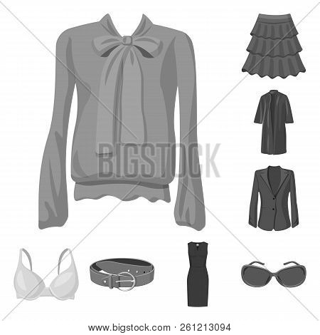Isolated Object Of Woman And Clothing Icon. Set Of Woman And Wear Stock Vector Illustration.