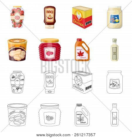Isolated Object Of Can And Food Logo. Set Of Can And Package Stock Vector Illustration.