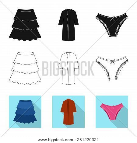 Isolated Object Of Woman And Clothing Sign. Set Of Woman And Wear Stock Vector Illustration.