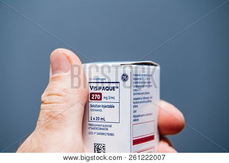 Paris, France - Oct 2, 2018: Visipaque - Iodixanol Package Containing The Contrast Agent For The Med