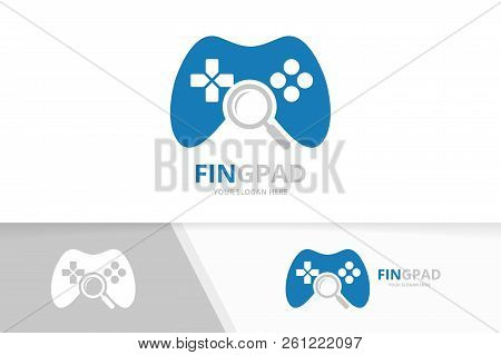 Vector Joystick And Loupe Logo Combination. Gamepad And Magnifying Symbol Or Icon. Unique Console Co