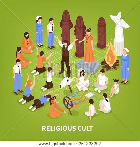 Isometric Religious Cult Background Composition Of Human Characters Of People Practising Different R