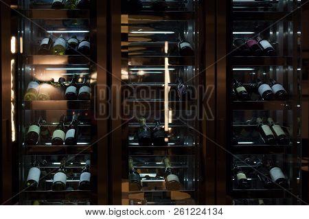 Wine Storage Racks Showcas. Illuminated Wine Rack, Glass Bottle.