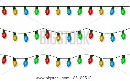 Christmas Lights String Vector, Color Garland Set Isolated On White. Garland Balls Seamless. Hanging