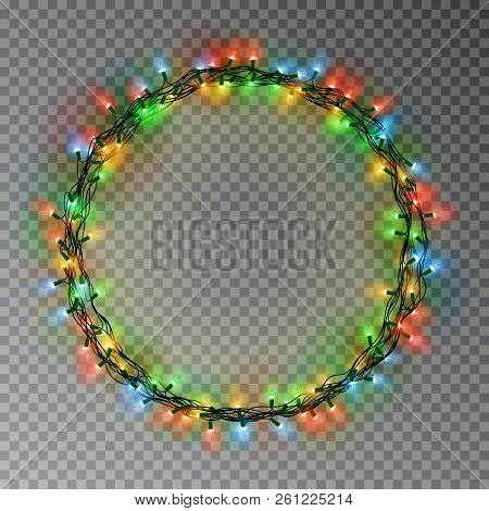 Garland Wreath Decorations. Christmas Color Lights Ring With Isolated Shine Lamps Element. Glowing S