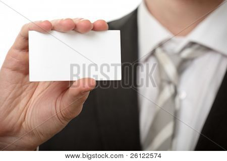 businessman hold visiting card on white