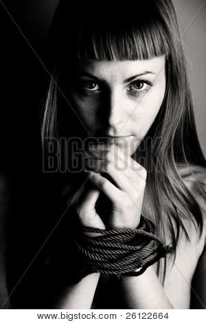 beautiful girl bind hand in black and white