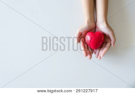 Red Heart On Hands Woman,healthcare And Cardiology Concept