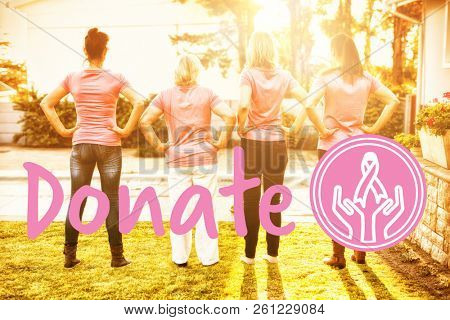 Graphic image of donate text with breast cancer awareness ribbon against women standing up to breast cancer