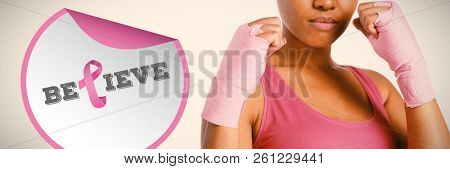 Breast cancer awareness message against pretty woman for breast cancer awareness