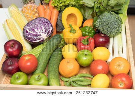 Healthy And Nutrition Concept.close Up Fresh Fruits And Vegetables.