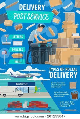 Post Mail Service Postage Office Poster. Post Shipping Transport And Postman In Uniform At Work. Vec
