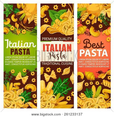 Pasta From Italy Banners For Italian Cuisine Or Restaurant Menu. Vector Of Spaghetti Or Macaroni, Fa