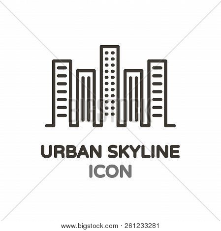 Urban Skyline With Skyscrapper Buildings. Vector Thin Line Minimal Icon For Real Estate, Architectur