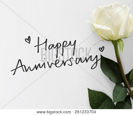 Happy Anniversary themed white rose