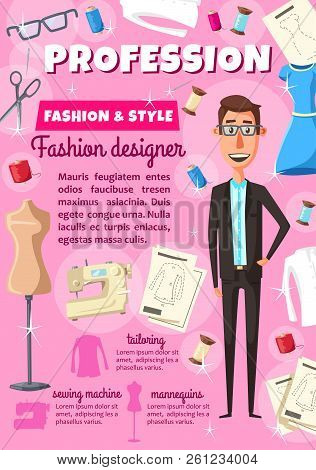 Fashion designer man or dressmaker profession tailoring poster. Vector dress or woman blouse on dummy. Mannequin, model of garment, fitting pattern. Threads with sewing machine and needle or scissors poster