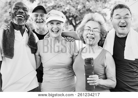 Group photo of senior friends exercising together