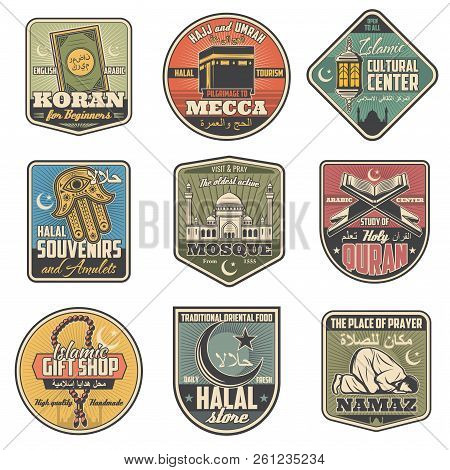 Islam Religion Vintage Icons For Holy Muslim Symbols. Quran And Mecca, Halal Souvenirs And Mosque, Q