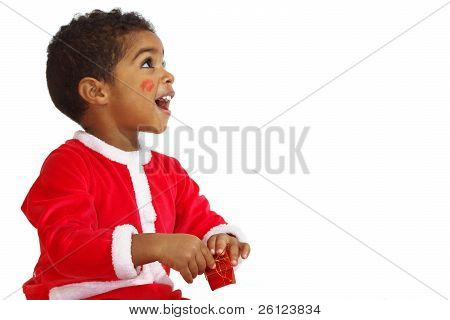 Mulatto child on a White background